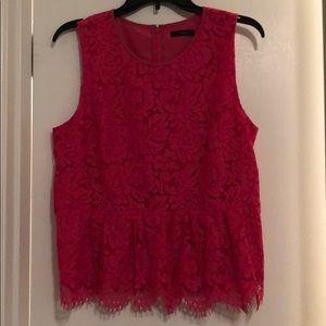 J. Crew pink lace peplum top . Real nice top.